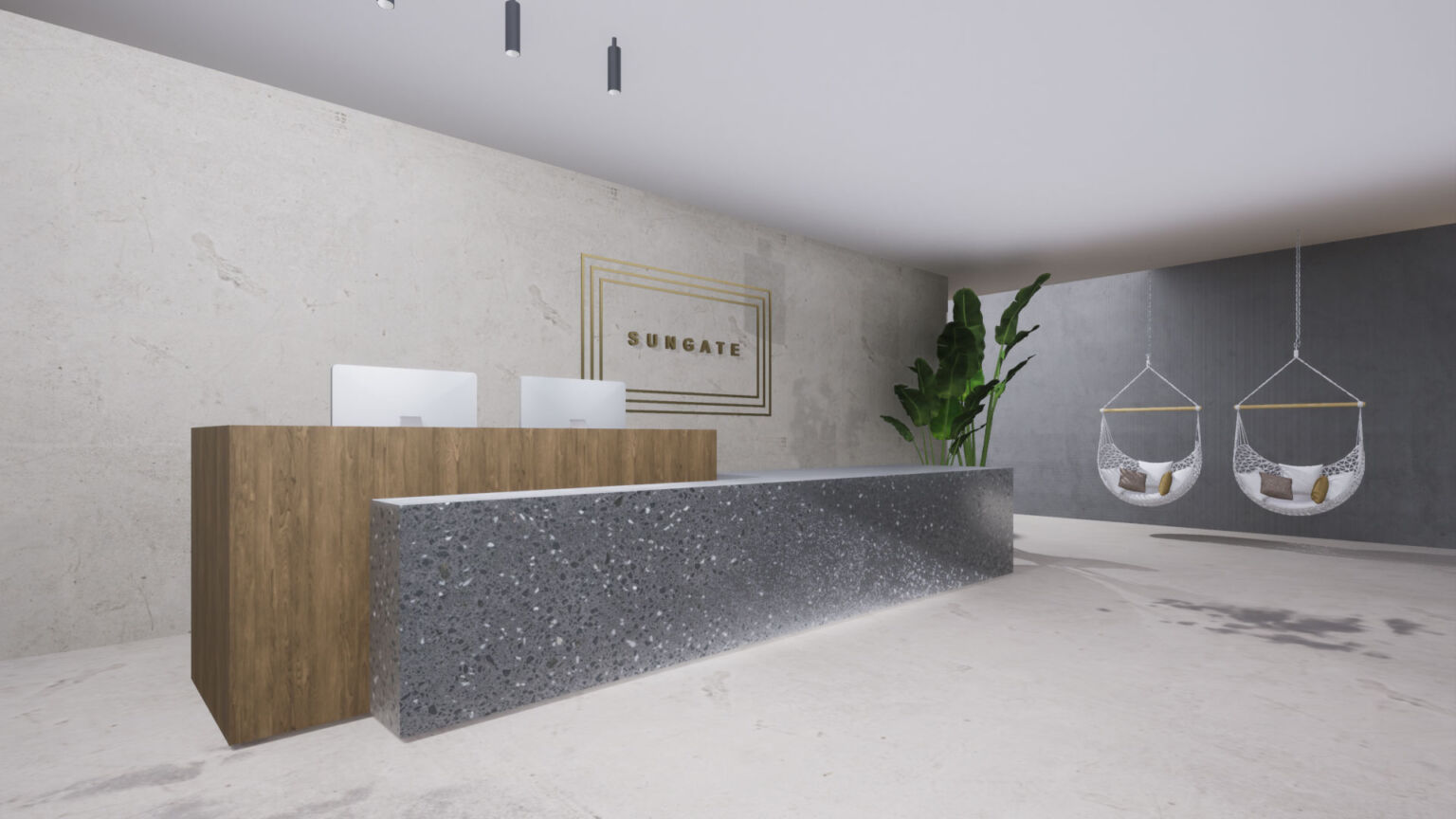 reception area for the all-excluse hotel of Sungate on the island of Corfu in Greece by ikies architects