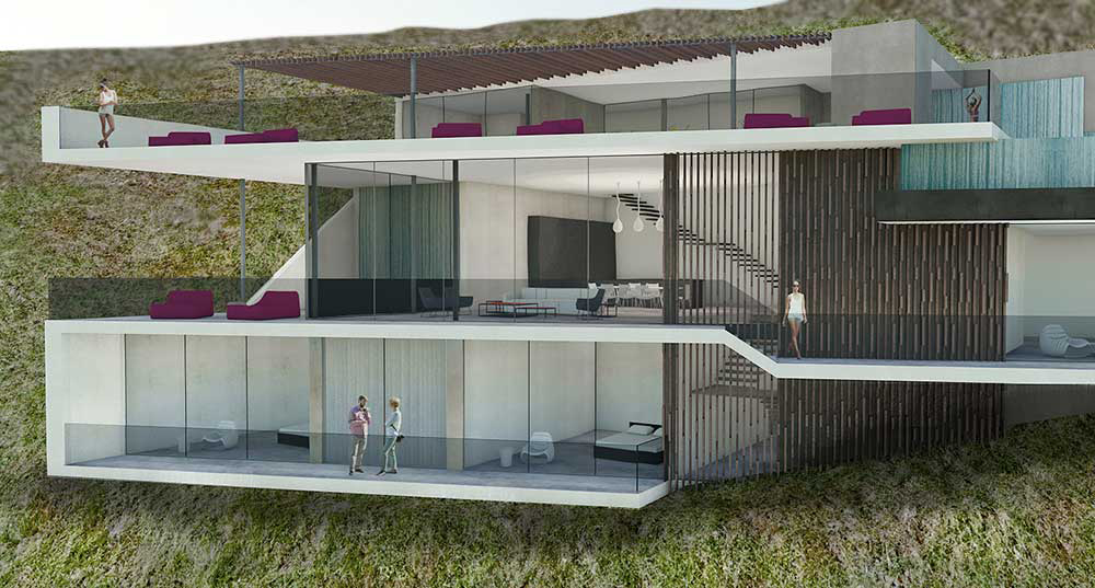 Luxury high end residence in the hillside of the hollywood hills in los angeles on franklin avenue